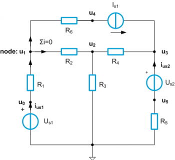 Circuit with voltage- and current sources