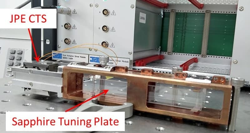 The JPE CTS connected to the tuning mechanism in a short cavity test assembly.